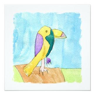 Peinture multicolore de perroquet d'aquarelle carton d'invitation  13,33 cm