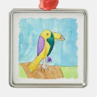 Peinture multicolore de perroquet d'aquarelle ornement carré argenté