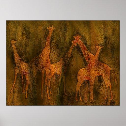 Peinture murale d 39 art de girafes affiche zazzle for Les differents types de peintures murales