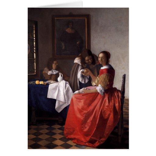 Peinture néerlandaise de Vermeer d'artiste Cartes De Vœux