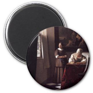 Peinture néerlandaise de Vermeer d'artiste Aimants Pour Réfrigérateur