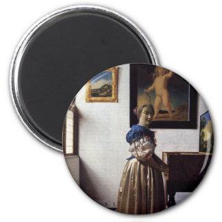 Peinture néerlandaise de Vermeer d'artiste Magnet Rond 8 Cm