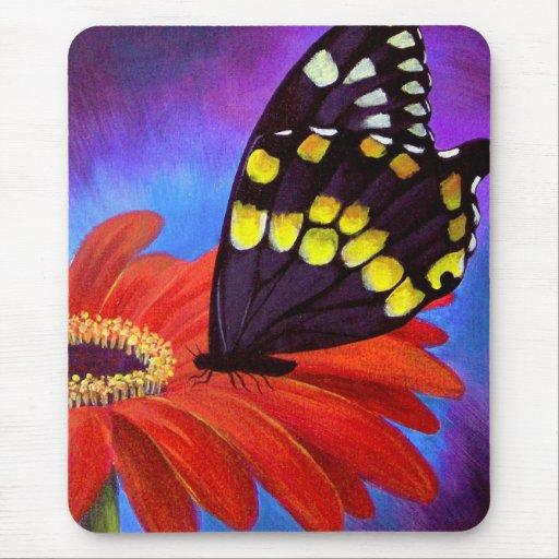 peinture noire de marguerite de papillon multi tapis de souris zazzle. Black Bedroom Furniture Sets. Home Design Ideas