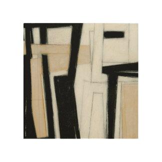 Peinture noire et blanche abstraite décoration murale sur bois