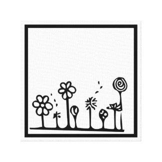 Peinture noire et blanche de dessin de fleur toiles