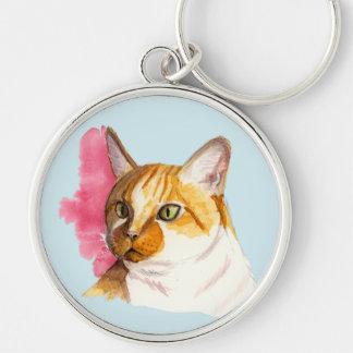Peinture orange d'aquarelle de chat tigré porte-clé rond argenté