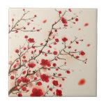 Peinture orientale de style, fleur de prune au pri carreau