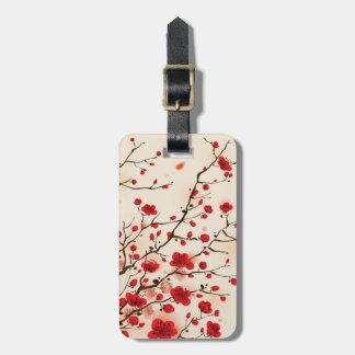 Peinture orientale de style, fleur de prune au pri étiquette pour bagages