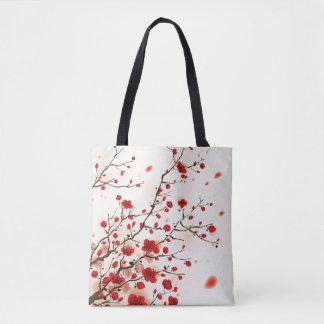 Peinture orientale de style, fleur de prune au sac