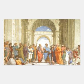 """Peinture originale """"l'école d'Athènes"""" par Sticker Rectangulaire"""