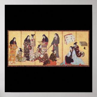 Peinture par Iwasa Matabei C. Japon 1650 Poster