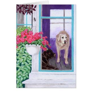 Peinture paresseuse de Labradors d'après-midi Carte De Vœux