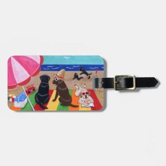 Peinture personnalisée de Labradors de brise d'été Étiquette À Bagage