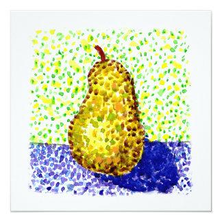 Peinture pointillée d'aquarelle avec la poire carton d'invitation  13,33 cm