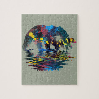 Peinture polychrome d'ours puzzle