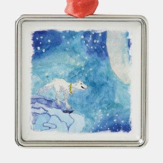 Peinture puérile d'aquarelle avec le loup neigeux ornement carré argenté