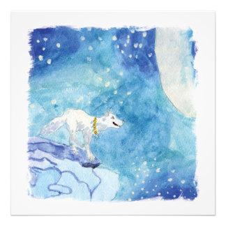 Peinture puérile d'aquarelle avec le loup neigeux tirage photo