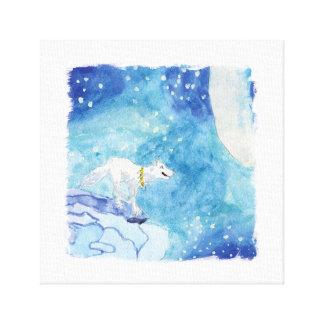 Peinture puérile d'aquarelle avec le loup neigeux toiles