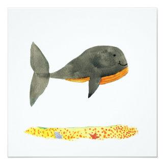 Peinture puérile d'aquarelle de baleine noire carton d'invitation  13,33 cm