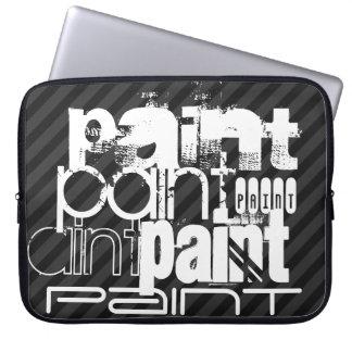 Peinture ; Rayures noires et gris-foncé Trousses Pour Ordinateur Portable