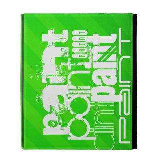 Peinture ; Rayures vertes au néon Coque iPad