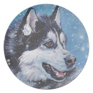 peinture réaliste de beaux-arts de chien de chien assiette