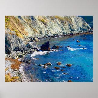 Peinture rocheuse de photo de rivage poster