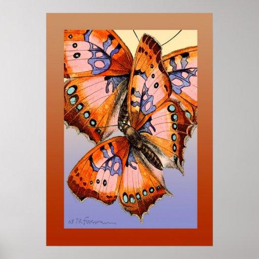 peinture rouge d 39 abr g sur bleu de papillons posters zazzle. Black Bedroom Furniture Sets. Home Design Ideas