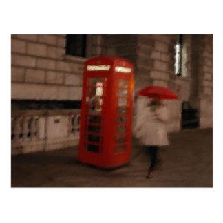 Peinture rouge de carte postale de boîte/parapluie