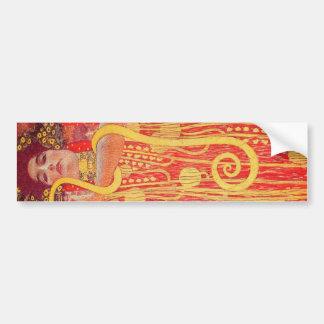 Peinture rouge de serpent d'or de femme de Gustav Autocollant De Voiture