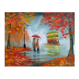 Peinture rouge de tram de parapluie d'automne de cartes postales