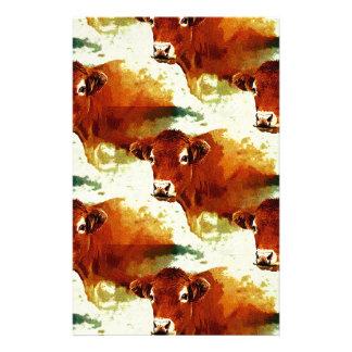 Peinture rouge de vache papier à lettre personnalisable