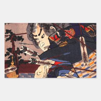 Peinture samouraï japonaise vintage d'Ukiyo-e Stickers Rectangulaires