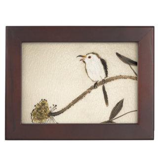 Peinture traditionnelle chinoise d'encre avec des boîtes à souvenirs