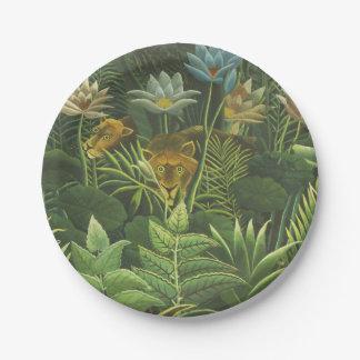 Peinture tropicale d'impression d'art de lion de assiettes en papier