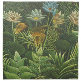 Peinture tropicale d'impression d'art de lion de serviettes imprimées
