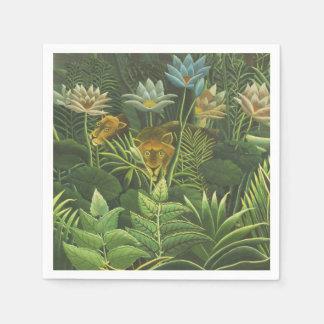 Peinture tropicale d'impression d'art de lion de serviettes jetables