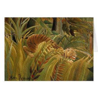 Peinture tropicale d'impression d'art de tigre de carte de vœux