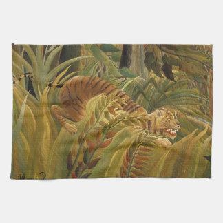 Peinture tropicale d'impression d'art de tigre de serviette éponge