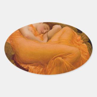 Peinture vintage de carte d'art de flamber juin sticker ovale