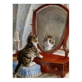 Peinture vintage de chat mignon de Kitty par Frank Carte Postale