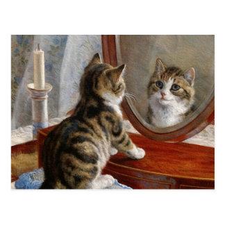 Peinture vintage de chat mignon de Kitty par Frank Cartes Postales
