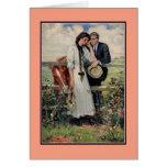 Peinture vintage romantique de couples et de cartes de vœux