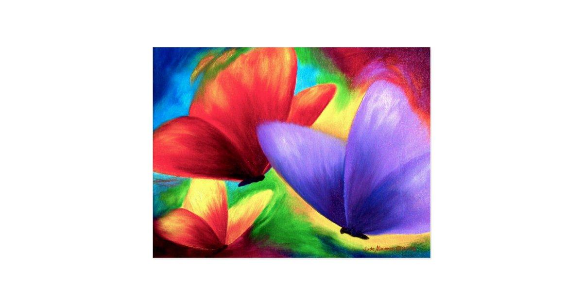 peintures color es de papillon sur des cartes carte postale zazzle. Black Bedroom Furniture Sets. Home Design Ideas