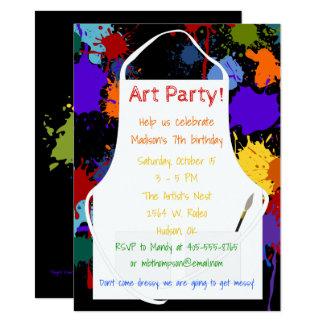 Peintures de Brights de partie d'art Carton D'invitation 11,43 Cm X 15,87 Cm