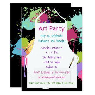 Peintures de pastel de partie d'art carton d'invitation  11,43 cm x 15,87 cm