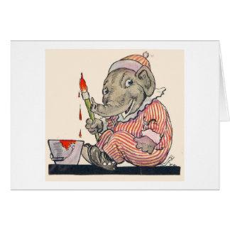 Peintures d'éléphant d'Eddie (blanc à l'intérieur) Carte De Vœux