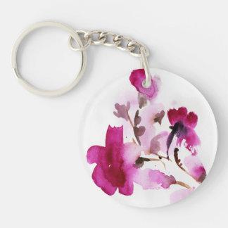 Peintures florales abstraites 4 d'aquarelle porte-clé rond en acrylique double face