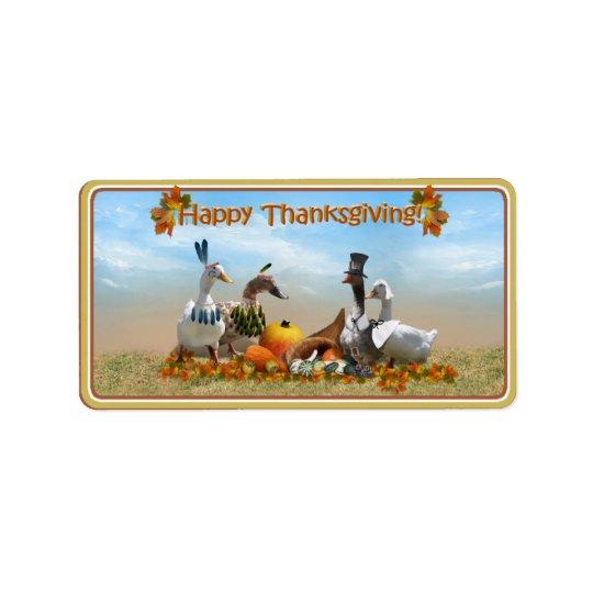 Pèlerin de thanksgiving et canards indiens étiquette d'adresse