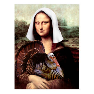 Pélerine de Mona Lisa de thanksgiving Carte Postale